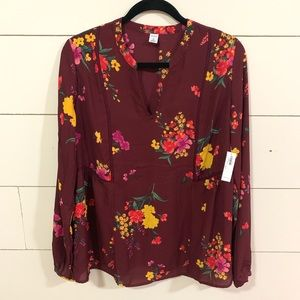 Old Navy Floral Top Medium TALL